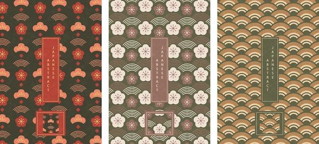 Abstrakte nahtlose musterhintergrunddesign-geometriewellenskala und pflaumenblüte im orientalischen japanischen stil