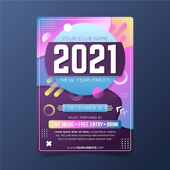 Abstrakte neujahrsfeierplakatvorlage des neuen jahres 2021