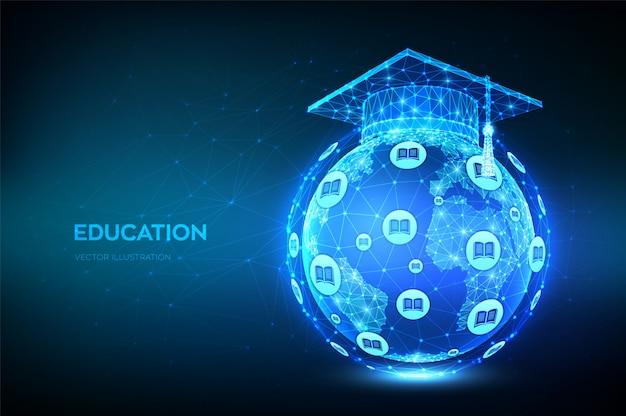 Abstrakte niedrige polygonale graduierungskappe auf der modellkarte des planeten erde globus. e-learning-konzept.