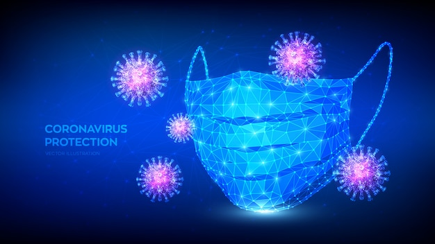 Abstrakte niedrige polygonale schützende medizinische gesichtsmaske und viruszellen. coronavirus 2019-ncov-ausbruch. keine infektion und stoppen sie das covid-19-pandemiekonzept.