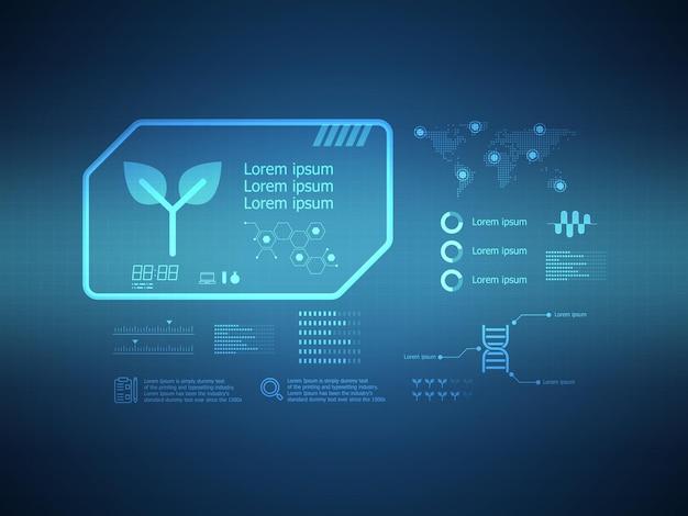 Abstrakte ökologie futuristische hud-display-schnittstelle sci-fi-technologie hintergrund vektor-illustration