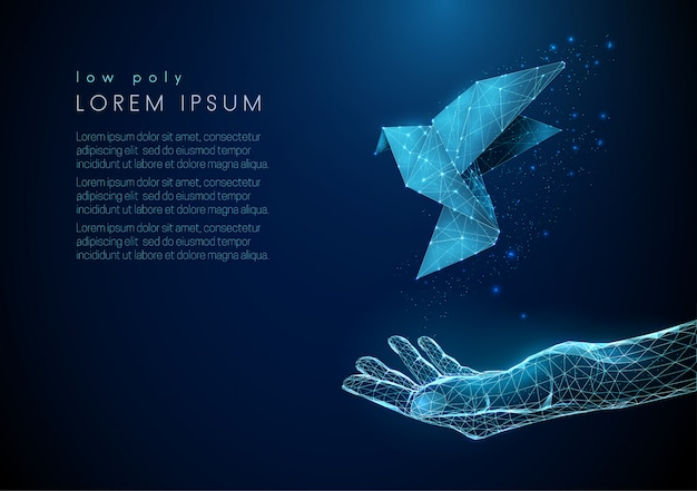 Abstrakte offene hand mit fliegendem papiervogel Premium Vektoren