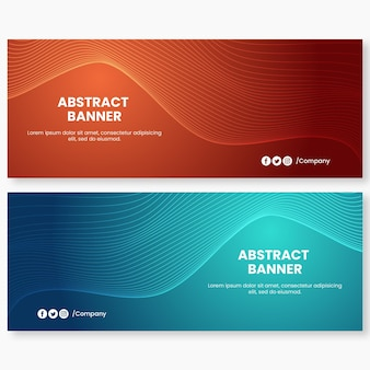 Abstrakte orange und blaue wellen-hintergrund-banner