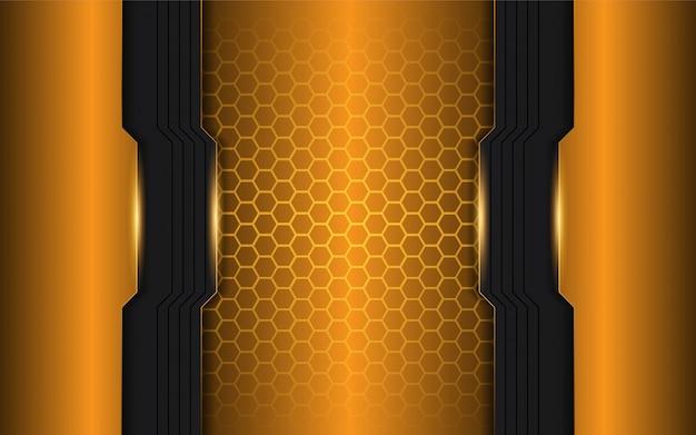 Abstrakte orange und schwarze metallische formen auf hexagonhintergrund