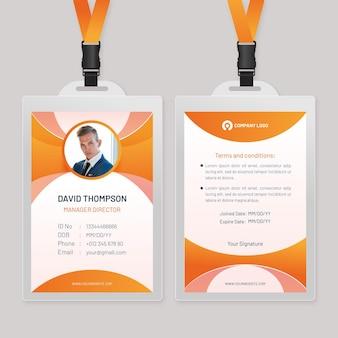 Abstrakte orangefarbene ausweisvorlage