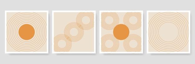 Abstrakte organische banner-vorlagensammlung. minimaler hintergrund im boho-stil mit kopienraum für text. illustration für cover, postkarte, tapete, wandkunst