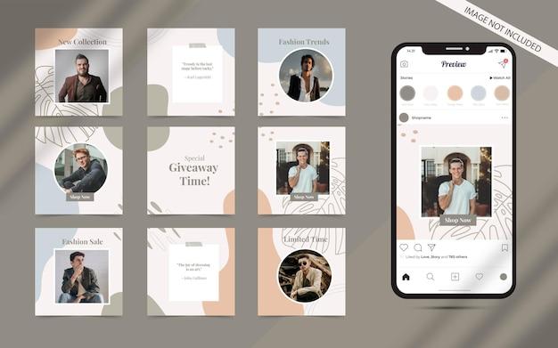 Abstrakte organische form für social-media-post-banner-satz von instagram-modeverkaufsförderung
