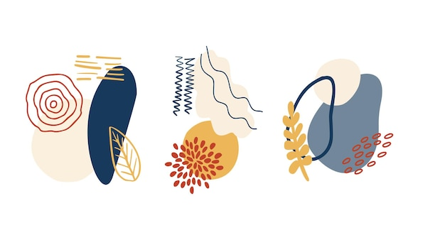 Abstrakte organische formenminimalistische elemente handgezeichnete linie modernes abstraktes design-set