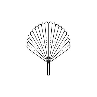 Abstrakte palm leaf symbol leitung im trendigen minimalistischen stil. vektor-tropisches blatt-boho-emblem. blumenillustration zum erstellen von logo, muster, t-shirt und wanddrucken, tattoo-design, social media post