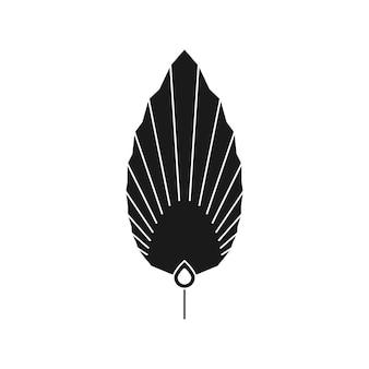 Abstrakte palmblatt-silhouette im einfachen stil. vektor getrocknetes tropisches blatt-boho-emblem. blumenillustration zum erstellen von logos, mustern, t-shirt-drucken, tattoo-design, social media post und stories