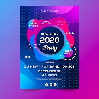 Abstrakte party-flugblattschablone des neuen jahres 2020