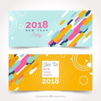 Abstrakte partyfahnen des neuen jahres 2018 in gelbem und in blauem