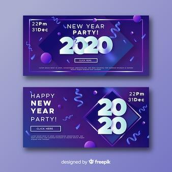 Abstrakte partyfahnen und -konfettis des neuen jahres 2020