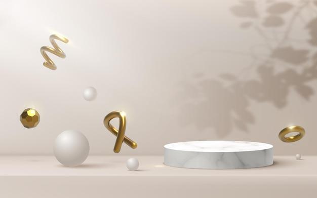 Abstrakte pastellbeige plattform, mit strahlern von scheinwerfern goldene 3d-formen.