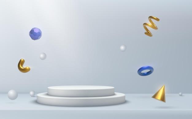 Abstrakte pastellblaue plattform, hintergrund mit farbverlauf mit strahlen von scheinwerfern goldene 3d-formen.