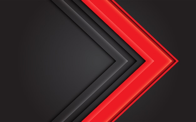 Abstrakte pfeilrichtung des roten lichtes auf dunkelgrauen modernen futuristischen hintergrund.