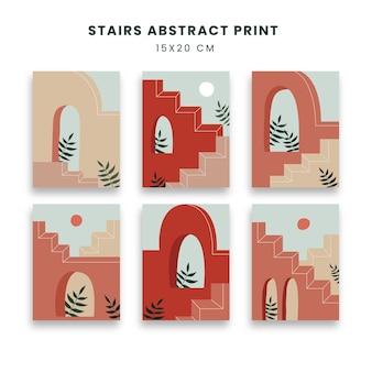 Abstrakte plakate kunst gesetzt mit treppen