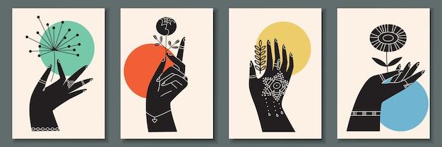 Abstrakte plakatsammlung mit hand, die blumen hält
