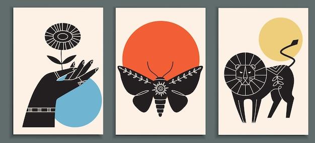 Abstrakte plakatsammlung mit tieren
