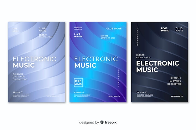 Abstrakte plakatschablone der elektronischen musik des effektes 3d
