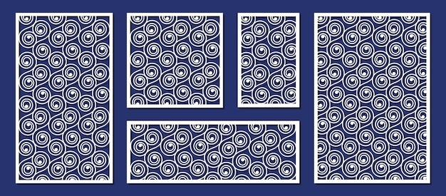 Abstrakte platten für laserschneiden, papier- oder holzschnitzschablone. dekorative lasergeschnittene platten, holzschnitzerei oder papierkunstvektorillustrationssatz. lasergeschnittene muster dekorative hochzeitsschnitzstruktur