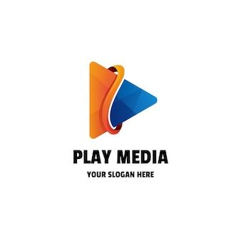 Abstrakte play media farbverlauf bunte logo vorlage