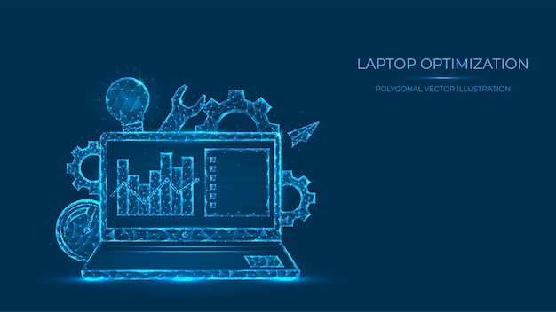 Abstrakte polygonale darstellung der laptopoptimierung. low-poly-konzept des laptops aus linien und punkten. suchmaschinenoptimierung.