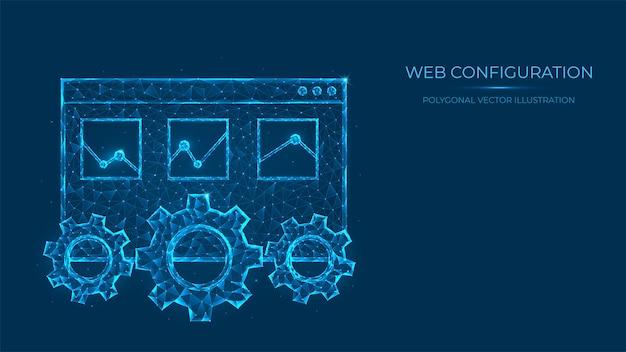 Abstrakte polygonale darstellung der webkonfiguration. low-poly-konzept von webseite und zahnrädern aus linien und punkten isoliert auf blauem hintergrund.