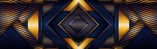 Abstrakte polygonale goldene luxuslinie mit dunkelblauem hintergrund Premium Vektoren
