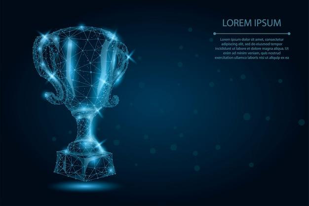 Abstrakte polygonale trophäenschale. niedrige polywireframe-vektorillustration. champions award für sportsieg