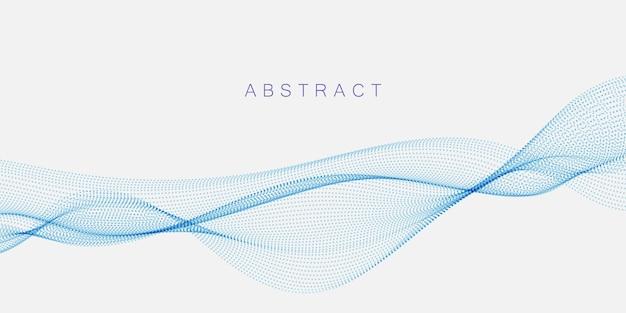 Abstrakte punktpartikel, die wellenförmig blau auf weißem hintergrund fließen. vektorillustrations-gestaltungselemente