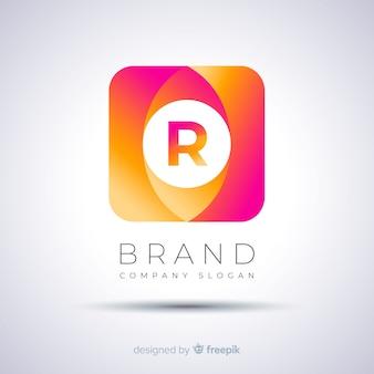 Abstrakte quadratische logo-vorlage mit farbverlauf