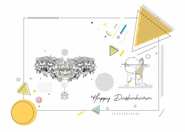 Abstrakte rakete feuerwerkskörper in einem topf mit ravana zehn köpfen mit text happy dussehra - poster banner vector design.