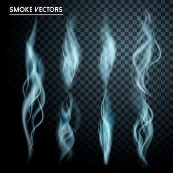 Abstrakte rauchelementkollektion über transparentem hintergrund