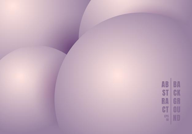 Abstrakte realistische flüssigkeit 3d kreist purpurroten hintergrund ein