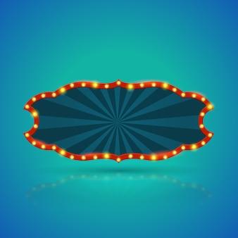 Abstrakte retro- helle fahne mit glühlampen auf der kontur