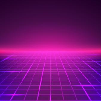 Abstrakte retro-landschaft in lila farben. futuristische digitale oberfläche. abstrakter geometrischer sci-fi-hintergrund.