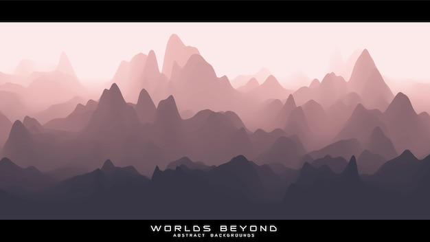 Abstrakte rötliche landschaft mit nebligen nebel bis horizont über berghängen. gradient erodierte geländeoberfläche