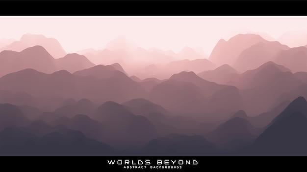 Abstrakte rötliche landschaft mit nebligen nebel bis horizont über berghängen