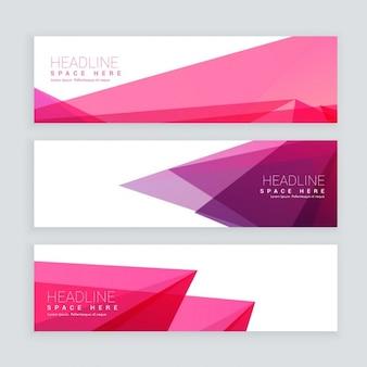 Abstrakte rosa geometrische form banner