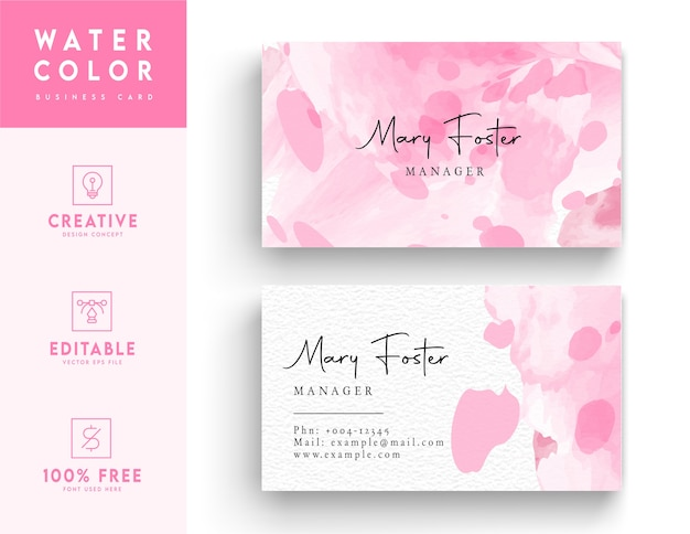 Abstrakte rosa hintergrundaquarell-visitenkarte