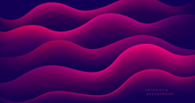 Abstrakte rosa und rote flüssige form auf dunklem hintergrund.