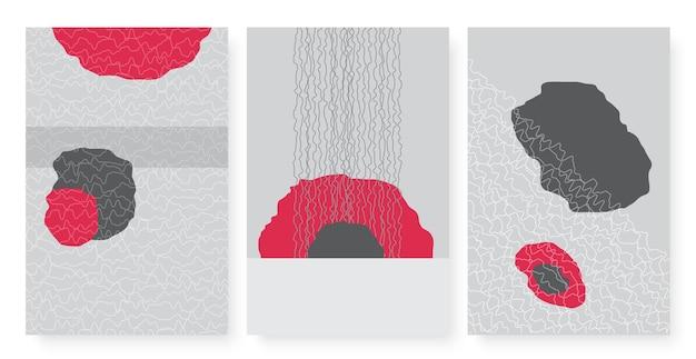 Abstrakte rot-graue form und handgezeichnete kritzeleien-muster-set formlose figuren wandkunst-design