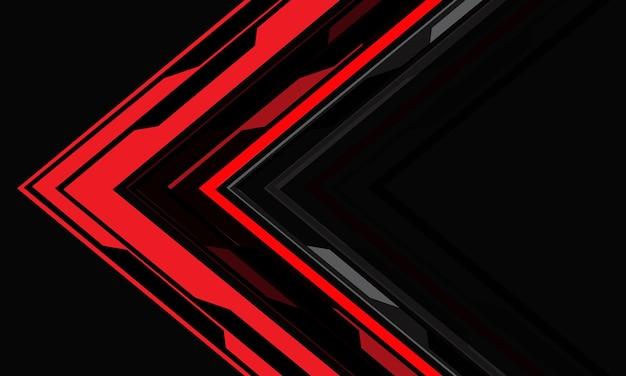 Abstrakte rote cyberpfeilrichtung geometrisch auf futuristischem hintergrundvektor der grauen technologie