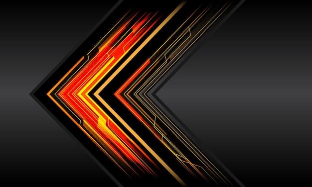 Abstrakte rote gelbe schwarze pfeillinie schaltungslicht cyber geometrische technologie