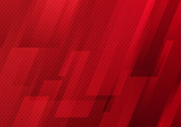 Abstrakte rote geometrische diagonale mit punktmusterhintergrund