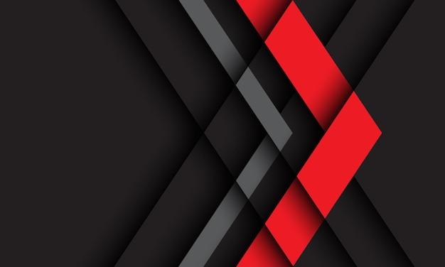 Abstrakte rote graue pfeilrichtung geometrisch auf dunkelheit mit futuristischem hintergrund des leerraumdesigns