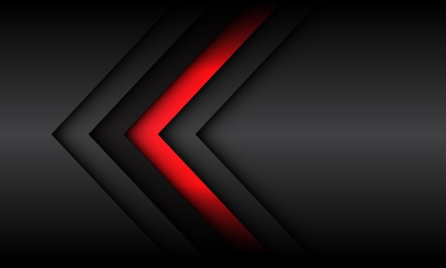 Abstrakte rote graue pfeilschattenrichtung mit modernem futuristischem technologiehintergrund des leerzeichens