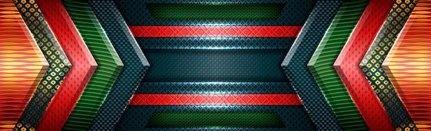 Abstrakte rote grüne moderne futuristische mit goldüberlappungshintergrund Premium Vektoren