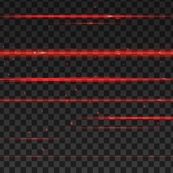 Abstrakte rote laserstrahlen. auf transparentem schwarzem hintergrund.